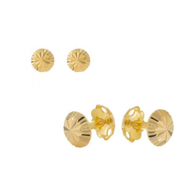 22ct Yellow Gold Stud Earrings – Plain 03