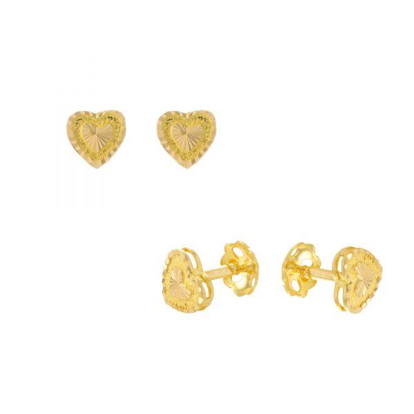 22ct Yellow Gold Stud Earrings – Plain 04