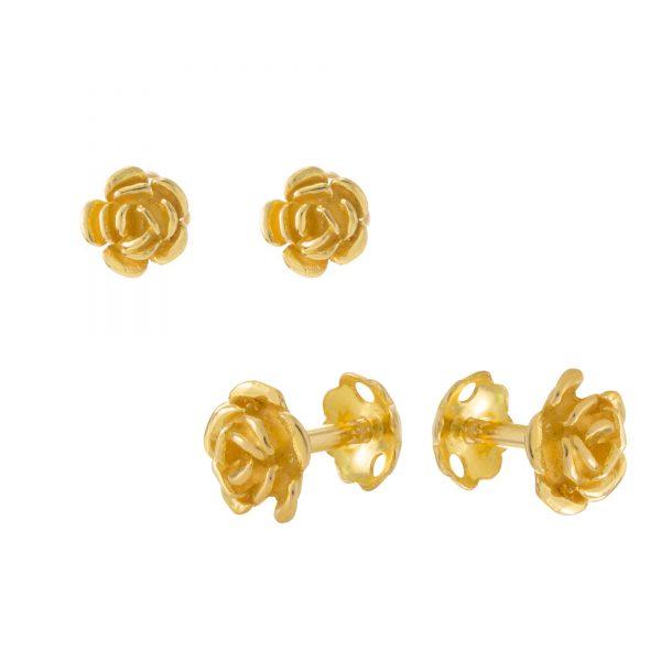 22ct Yellow Gold Stud Earrings – Plain 05