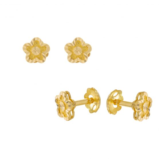22ct Yellow Gold Stud Earrings – Plain 06