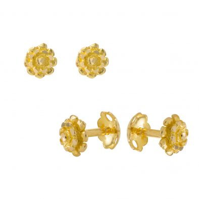 22ct Yellow Gold Stud Earrings – Plain 07