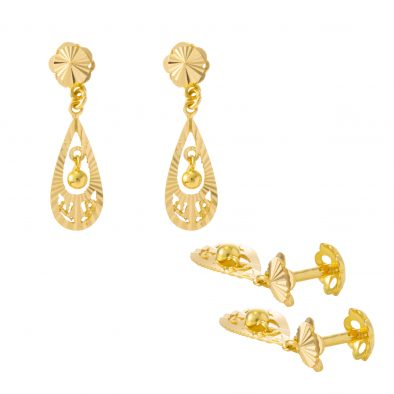 22ct Yellow Gold Hanging Earrings – Screw Back Post 27