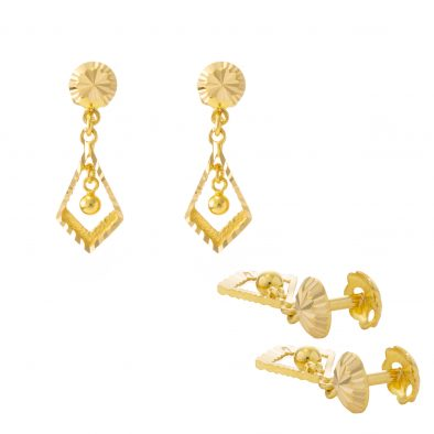 22ct Yellow Gold Hanging Earrings – Screw Back Post 28