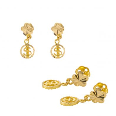 22ct Yellow Gold Hanging Earrings – Screw Back Post 29