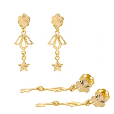 22ct Yellow Gold Hanging Earrings – Screw Back Post 30