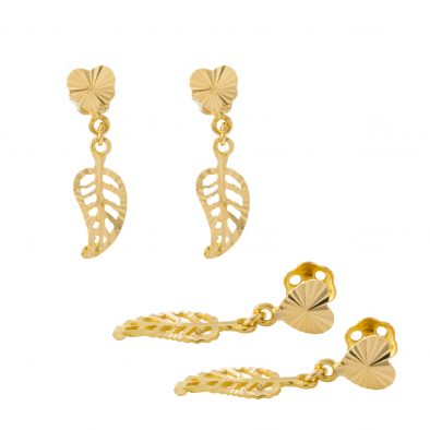 22ct Yellow Gold Hanging Earrings – Screw Back Post 31