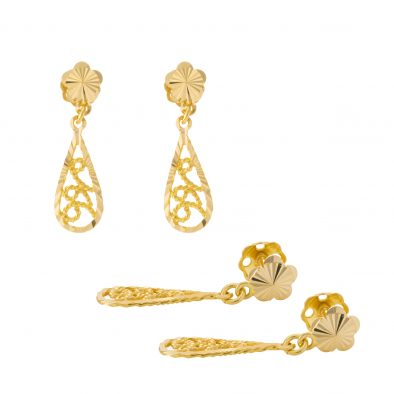 22ct Yellow Gold Hanging Earrings – Screw Back Post 32