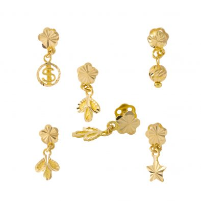 22ct Yellow Gold Hanging Earrings Bundle 02