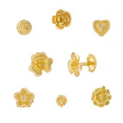 22ct Yellow Gold Stud Earrings – Plain Bundle 02