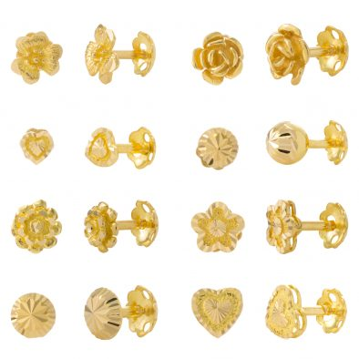 22ct Yellow Gold Stud Earrings – Plain Bundle 03