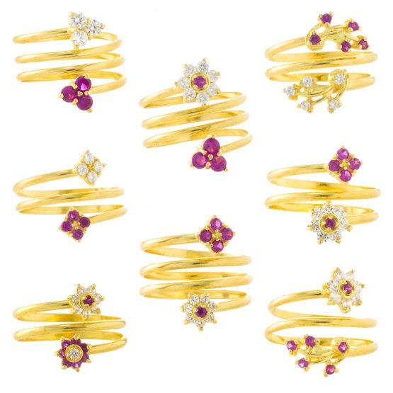22ct Yellow Gold & CZ Stones Ladies Rings – Fancy Design / Spring Shape Bundle 01