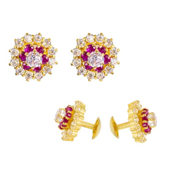 22ct Yellow Gold Stud Earrings With CZ Stones 01