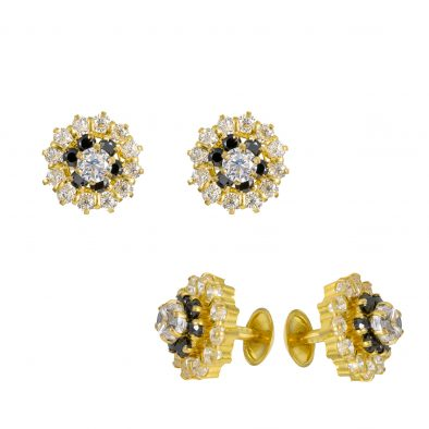 22ct Yellow Gold Stud Earrings With CZ Stones 02