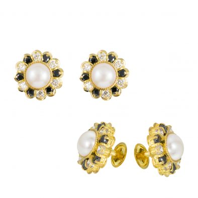 22ct Yellow Gold Stud Earrings With CZ Stones 03