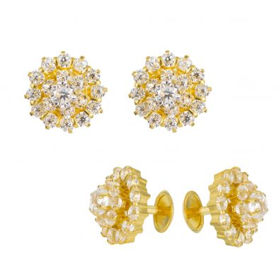 22ct Yellow Gold Stud Earrings With CZ Stones 04