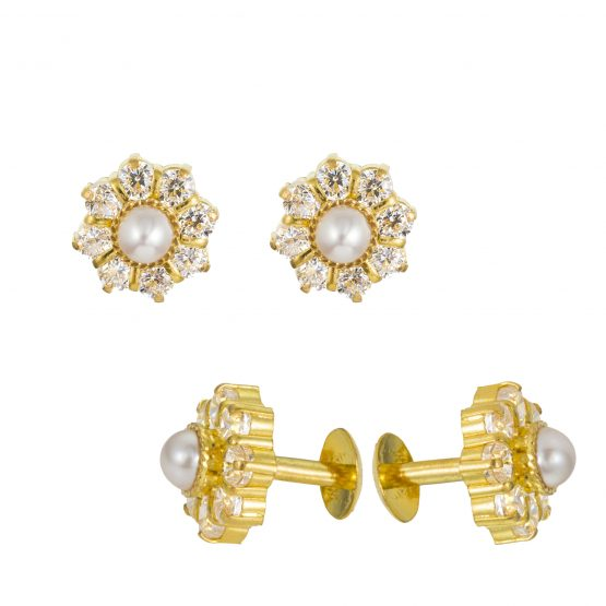 22ct Yellow Gold Stud Earrings With CZ Stones 05