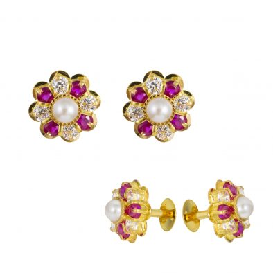 22ct Yellow Gold Stud Earrings With CZ Stones 06