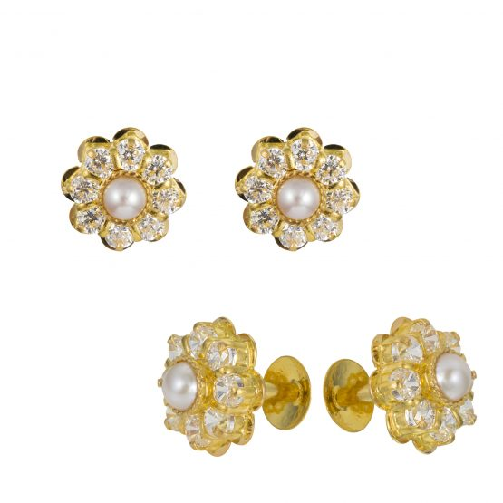 22ct Yellow Gold Stud Earrings With CZ Stones 07