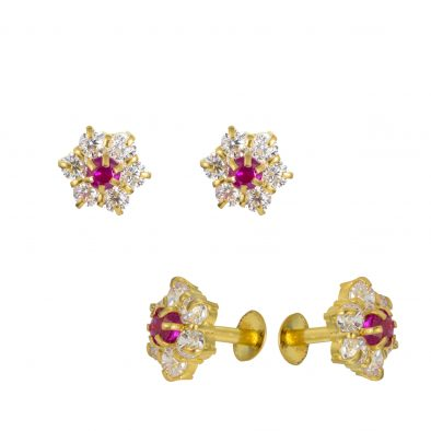 22ct Yellow Gold Stud Earrings With CZ Stones 08