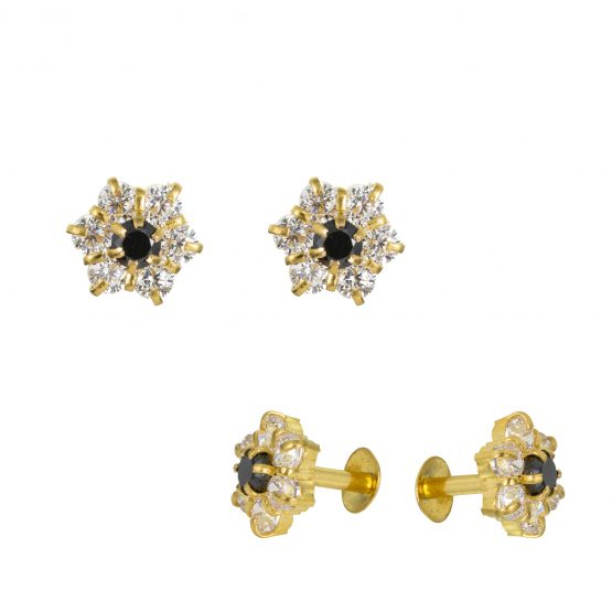 22ct Yellow Gold Stud Earrings With CZ Stones 09