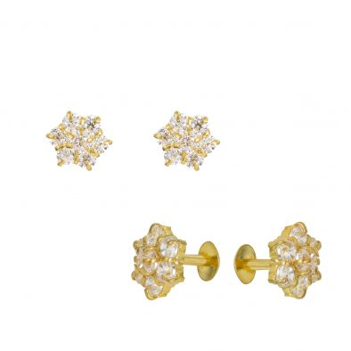 22ct Yellow Gold Stud Earrings With CZ Stones 10