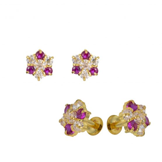 22ct Yellow Gold Stud Earrings With CZ Stones 11