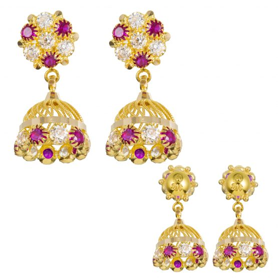 22ct Yellow Gold Earrings – Jhumka Style With CZ Stones 01