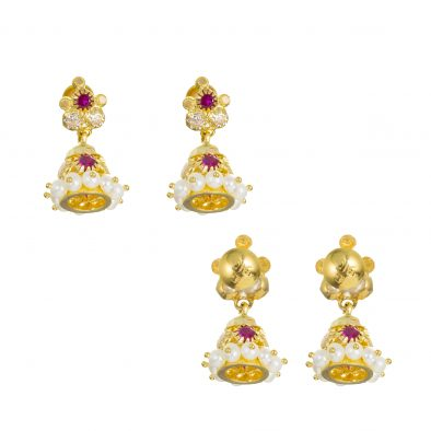 22ct Yellow Gold Earrings – Jhumka Style With CZ Stones 02