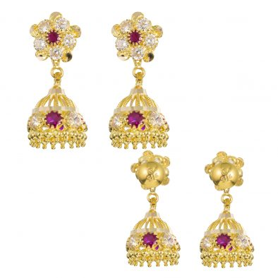 22ct Yellow Gold Earrings – Jhumka Style With CZ Stones 03