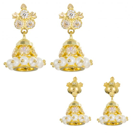 22ct Yellow Gold Earrings – Jhumka Style With CZ Stones 04