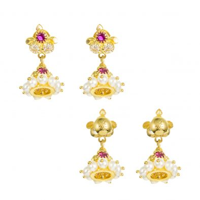 22ct Yellow Gold Earrings – Jhumka Style With CZ Stones 05