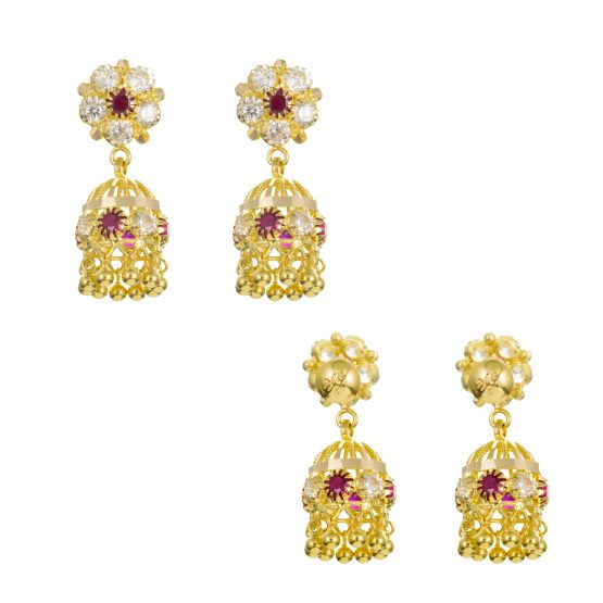 22ct Yellow Gold Earrings – Jhumka Style With CZ Stones 06