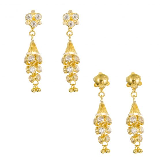 22ct Yellow Gold Earrings – Jhumka Style With CZ Stones 07