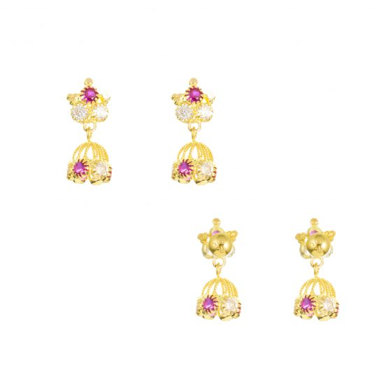 22ct Yellow Gold Earrings – Jhumka Style With CZ Stones 09