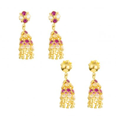 22ct Yellow Gold Earrings – Jhumka Style With CZ Stones 10