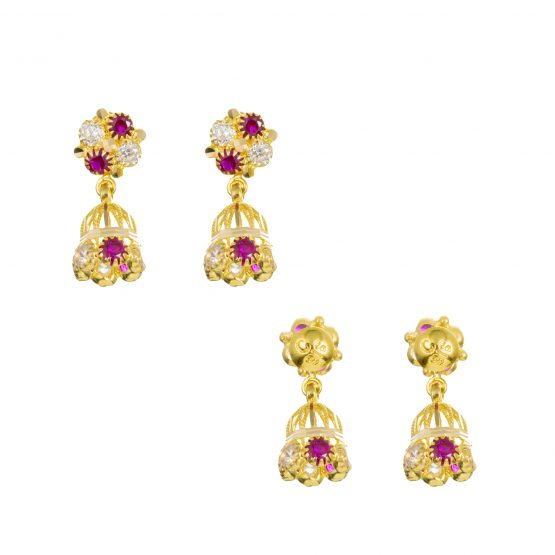 22ct Yellow Gold Earrings – Jhumka Style With CZ Stones 11
