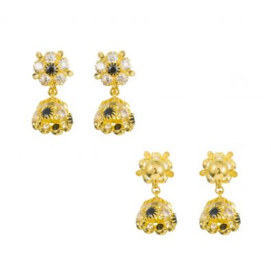 22ct Yellow Gold Earrings – Jhumka Style With CZ Stones 12