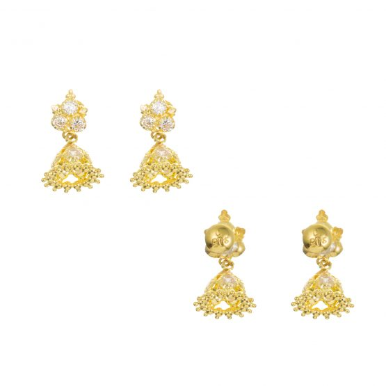 22ct Yellow Gold Earrings – Jhumka Style With CZ Stones 13