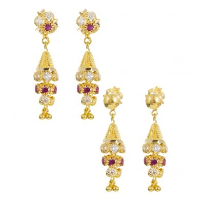 22ct Yellow Gold Earrings – Jhumka Style With CZ Stones 14