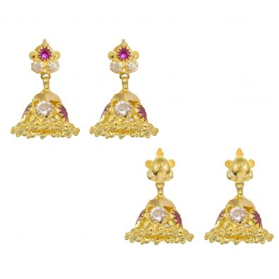 22ct Yellow Gold Earrings – Jhumka Style With CZ Stones 15