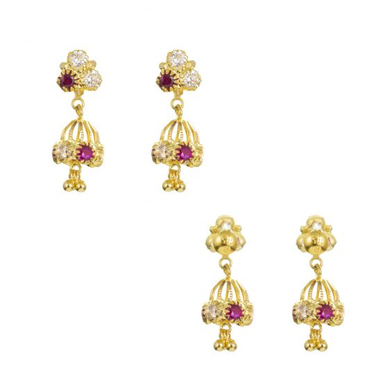 22ct Yellow Gold Earrings – Jhumka Style With CZ Stones 16