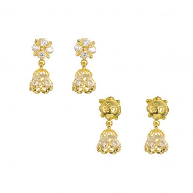 22ct Yellow Gold Earrings – Jhumka Style With CZ Stones 17