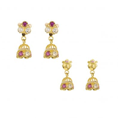 22ct Yellow Gold Earrings – Jhumka Style With CZ Stones 18