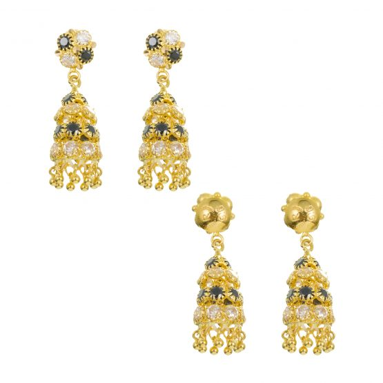 22ct Yellow Gold Earrings – Jhumka Style With CZ Stones 19