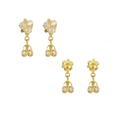 22ct Yellow Gold Earrings – Jhumka Style With CZ Stones 20