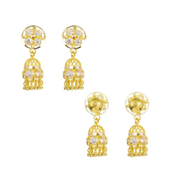 22ct Yellow Gold Earrings – Jhumka Style With CZ Stones 22
