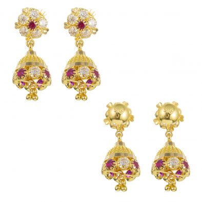 22ct Yellow Gold Earrings – Jhumka Style With CZ Stones 23