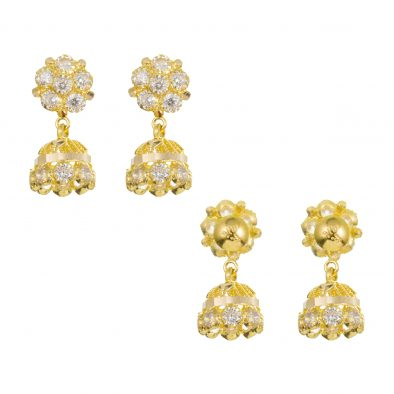 22ct Yellow Gold Earrings – Jhumka Style With CZ Stones 24