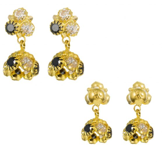 22ct Yellow Gold Earrings – Jhumka Style With CZ Stones 25