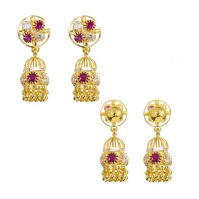 22ct Yellow Gold Earrings – Jhumka Style With CZ Stones 26